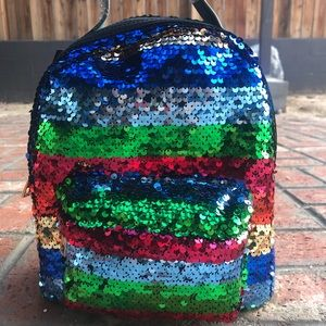 NWT colorful sequin mini backpack